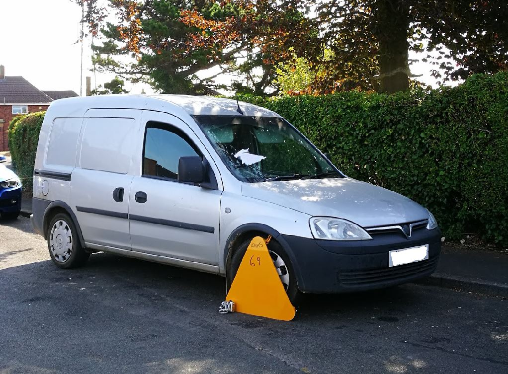 A van clamped by DVLA for out of date car tax