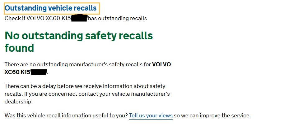 Free Vehicle Recall check - VRM lookup